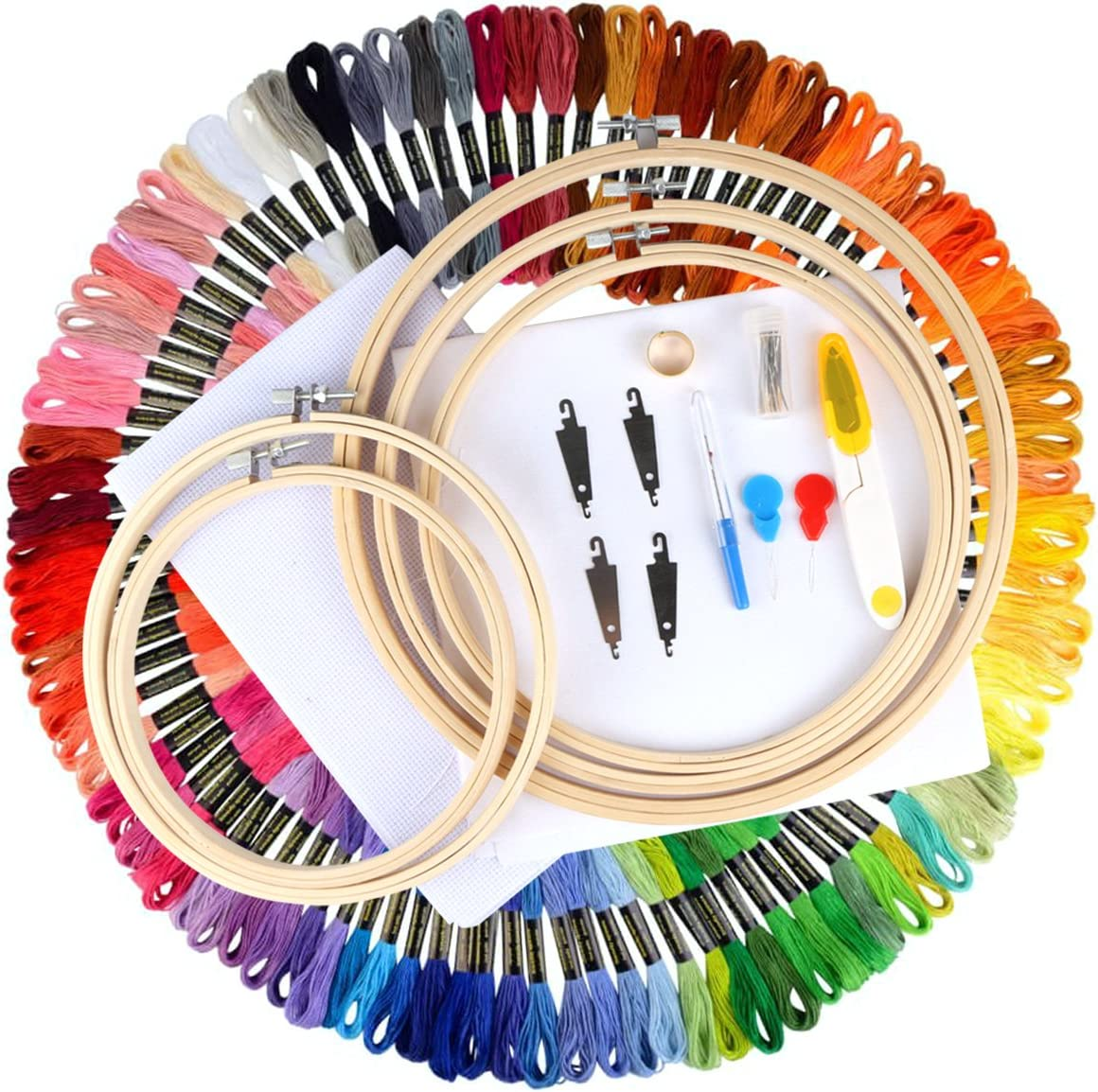 Wartoon Full Range of Cross Stitch Tool Kit Including 8 Inch Bamboo Embroidery Hoop Embroidery Starter Kit 50 Color Threads 12 by 18-Inch 14 Count Classic Reserve Aida and Tool Kit