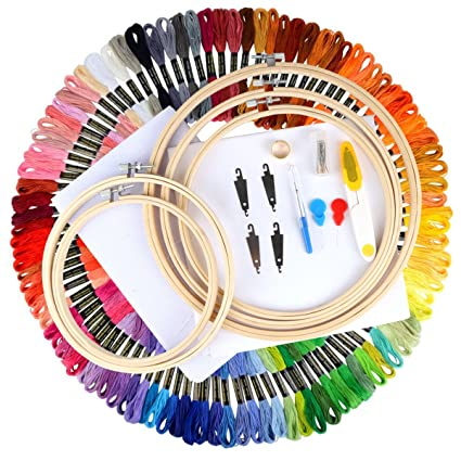 Unime Full Range of Embroidery Starter Kit Cross Stitch Tool Kit Including 5  PCS Bamboo Embroidery 8a0db47e3