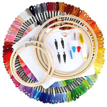 017643e969b Unime Full Range of Embroidery Starter Kit Cross Stitch Tool Kit Including 5  PCS Bamboo Embroidery