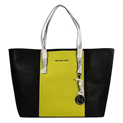bd47581f1e08 MICHAEL Michael Kors Medium Jet Set Centerstripe Travel Tote in Black/Apple  Green: Handbags: Amazon.com