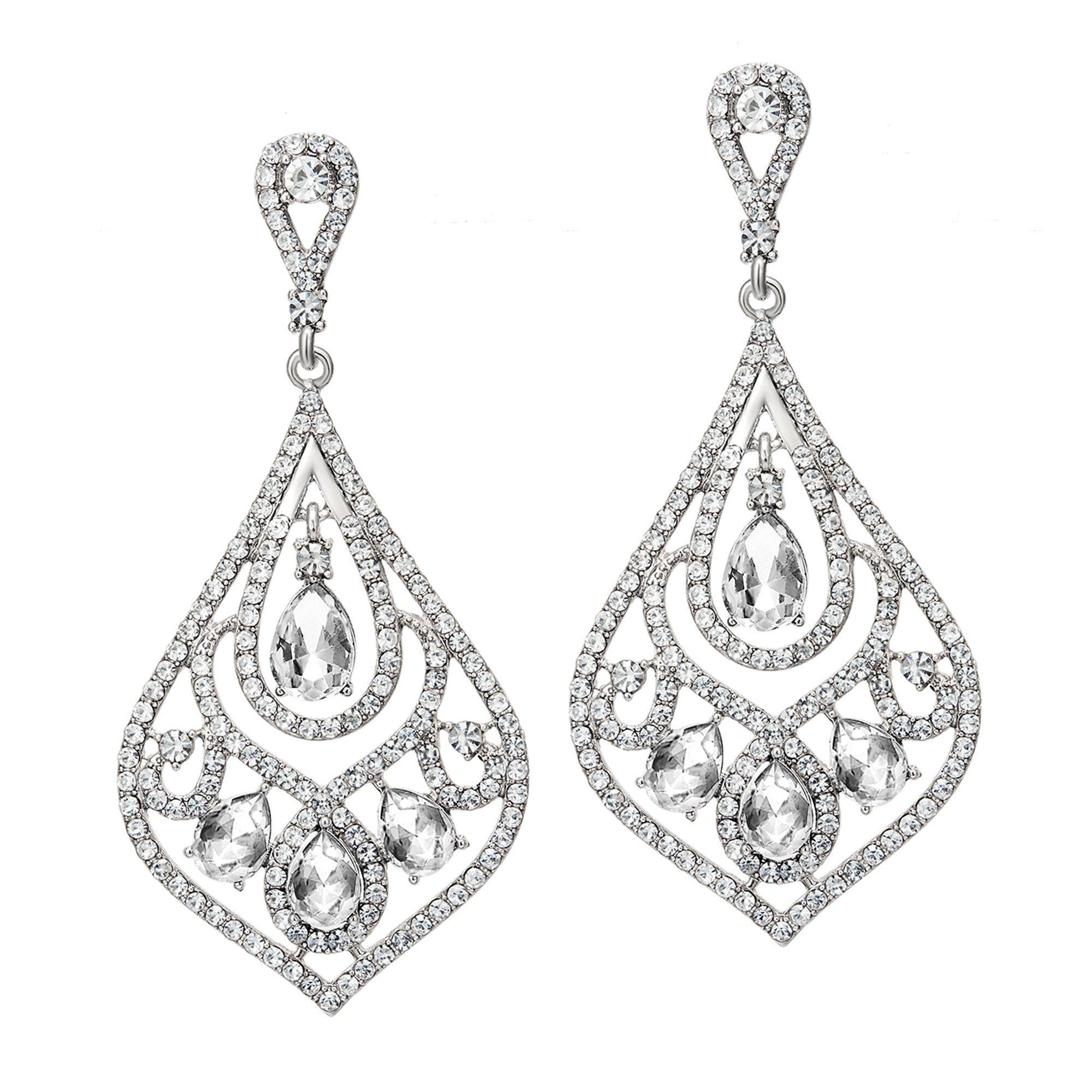 BABEYOND Vintage Wedding Dangle Earrings 1920s Bridal Drop Art Deco Earrings