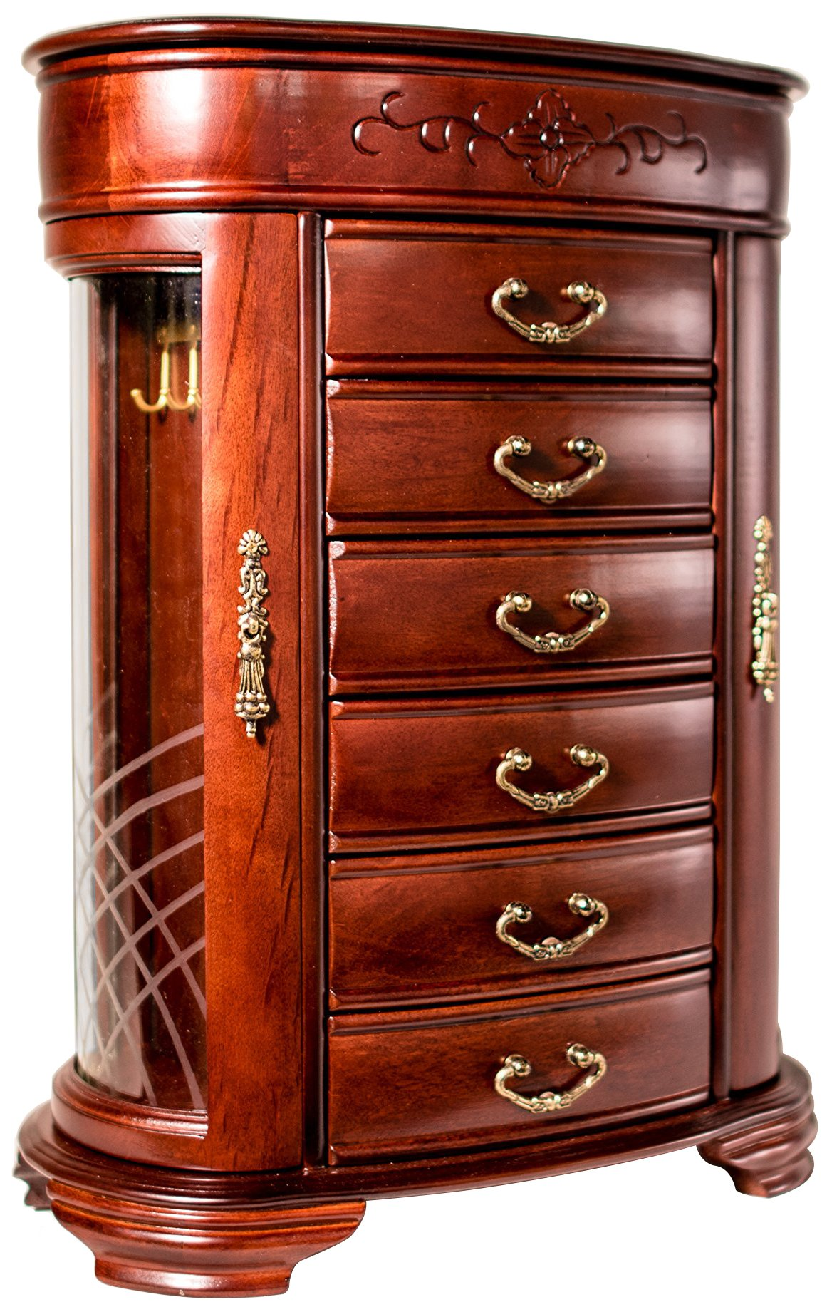Hives and Honey Patricia Etched Glass Mahogany Jewelry Chest Jewelry Box by Hives and Honey