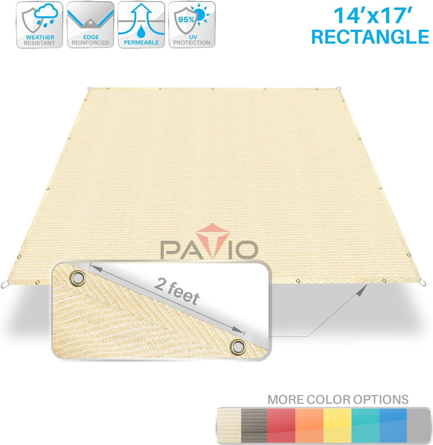 Patio Paradise - Vela de sombra con bordes rectos: Amazon.es: Jardín