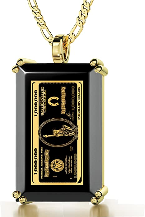Colgante con Dinero - Collar bañado en Oro con Billete de 1 millón de dólares inscrito en Oro de 24ct sobre Gema de ónix - Joyería para Hombre: Amazon.es: Joyería