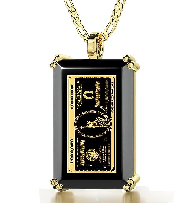 Collar con ónice y billete de 1M$ en oro 24kthttps://amzn.to/2MW9hcu