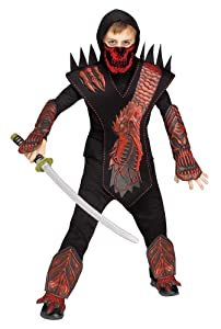 Fun World Skeleton Dragon Ninja Red Costume, Medium 8 - 10, Multicolor