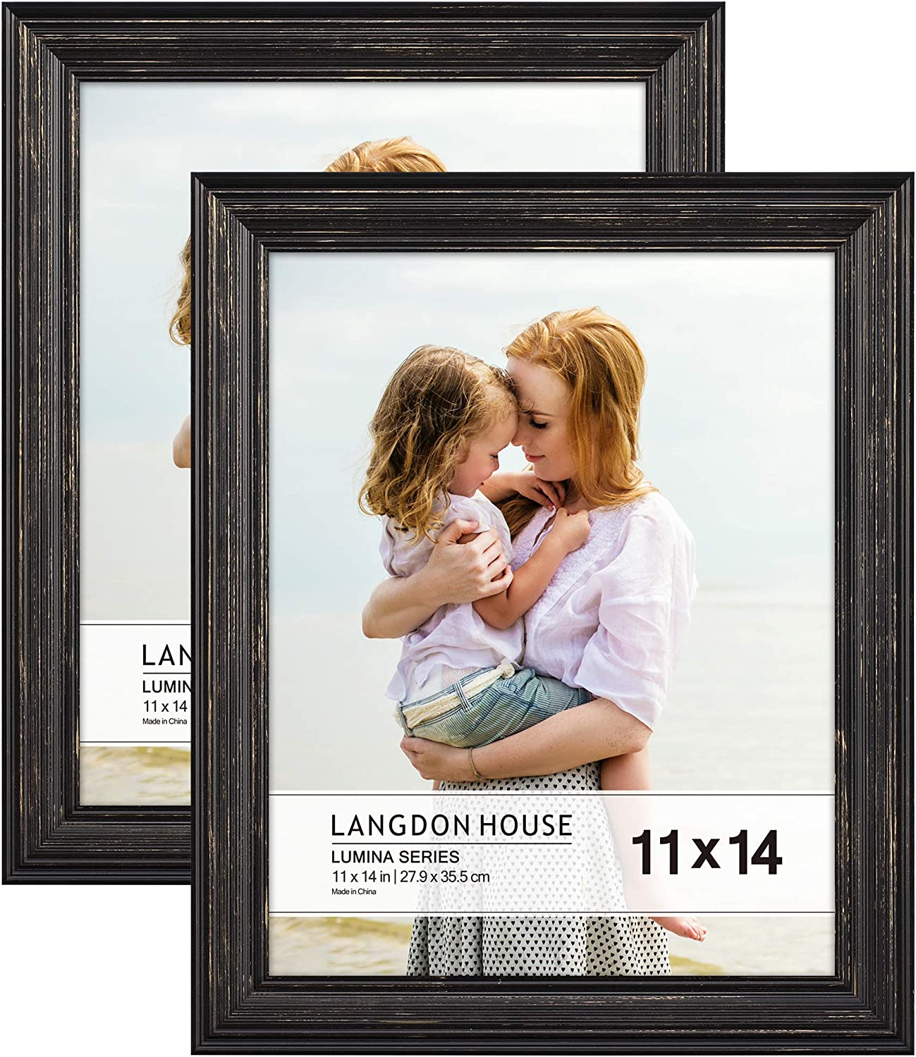 Langdon House 11x14 Real Wood Picture Frames (Barnwood Black - Gold Accents, 2 Pack), French Country Style Wooden Photo Frame 11 x 14, Lumina Collection