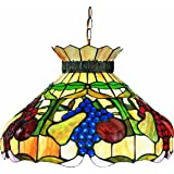 Z-Lite H20-1-01 Fruit One Light Pendant, Metal Frame, Bronze Finish and Multi Color Tiffany Shade of Glass Material
