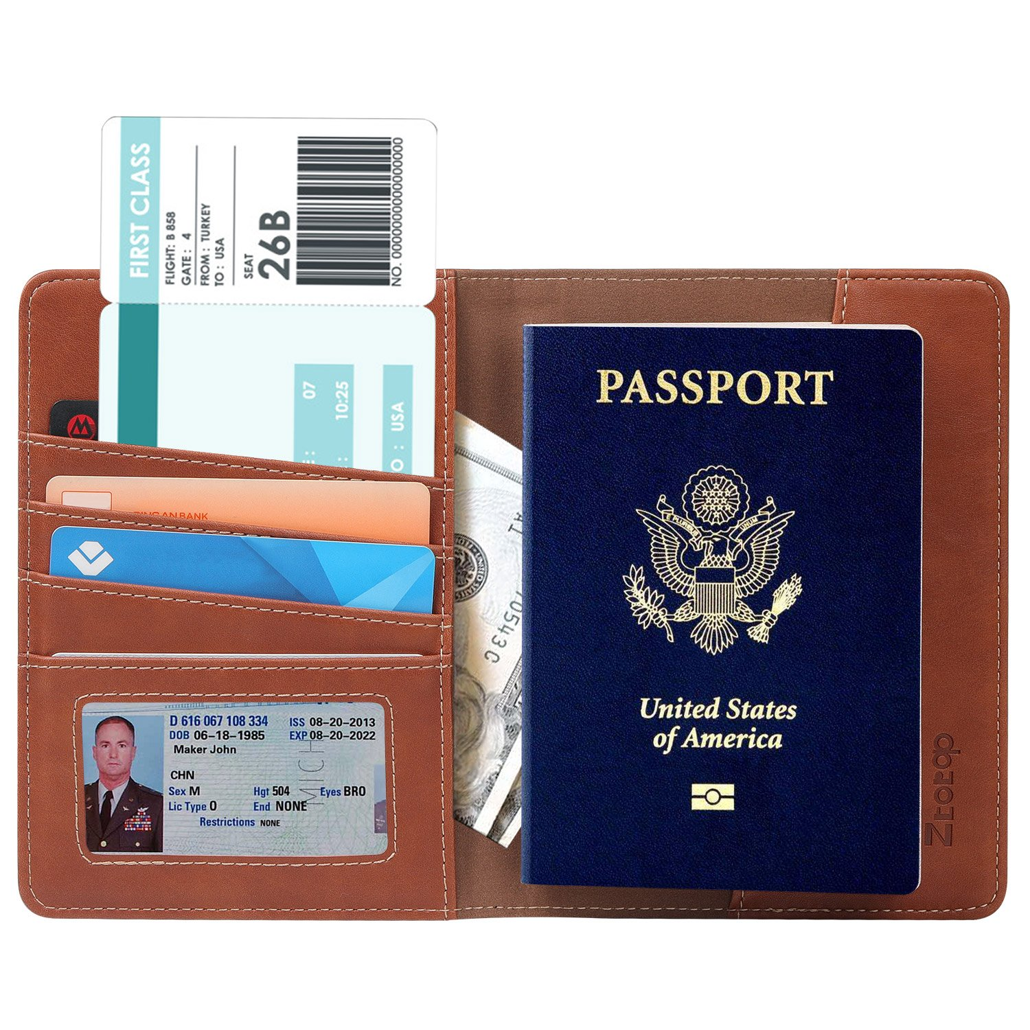 Ztotop Passport Holder Case - Travel Leather Passport Cover with RFID Blocking, Passport Wallet, Brown (ZTHCOVER006) BENAZCAP INTERNATIONAL INC