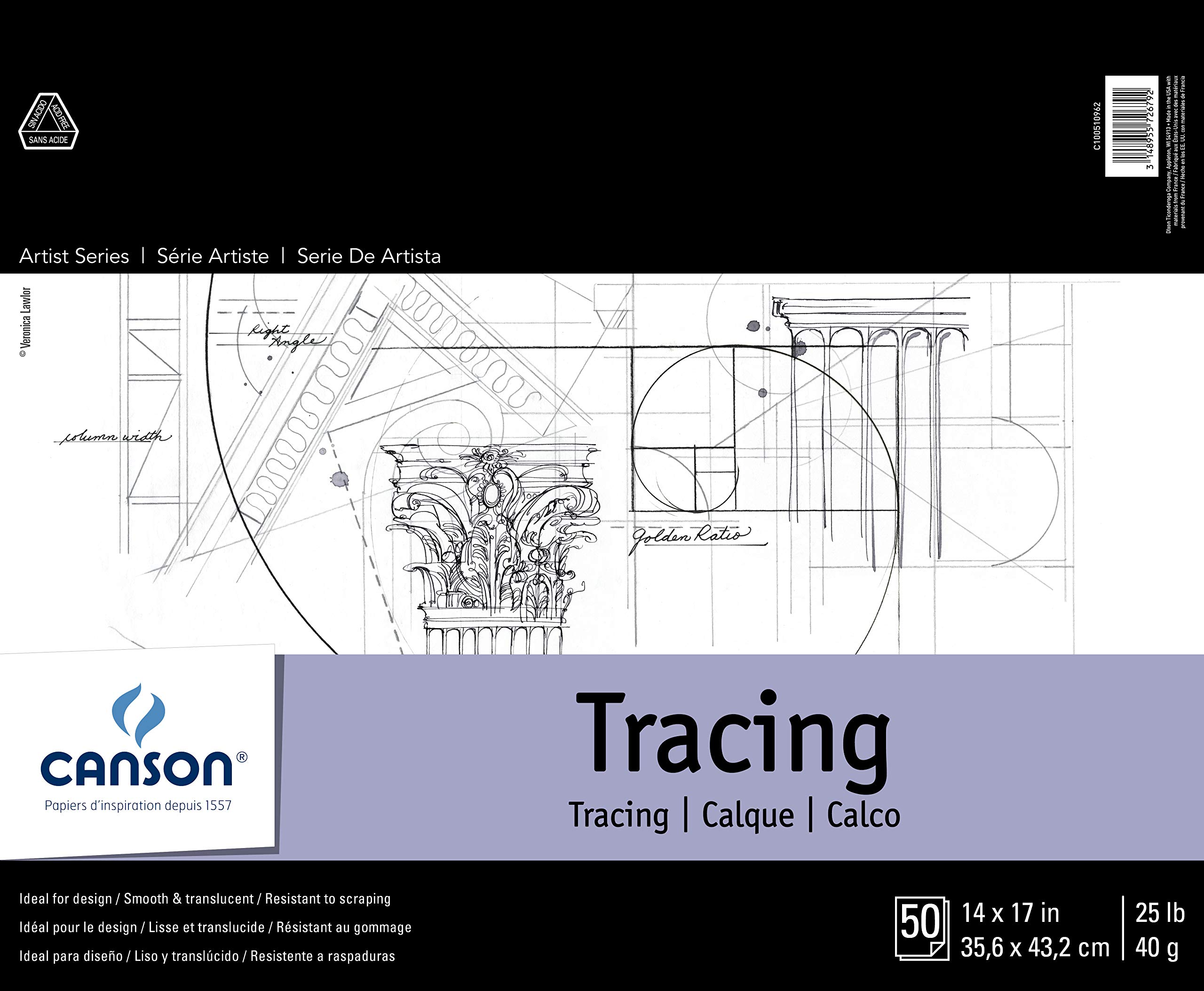 Canson Foundation Series Tracing Pad, 14'' x 17'', Fold-over Cover, 50 Sheets (100510962) by Canson