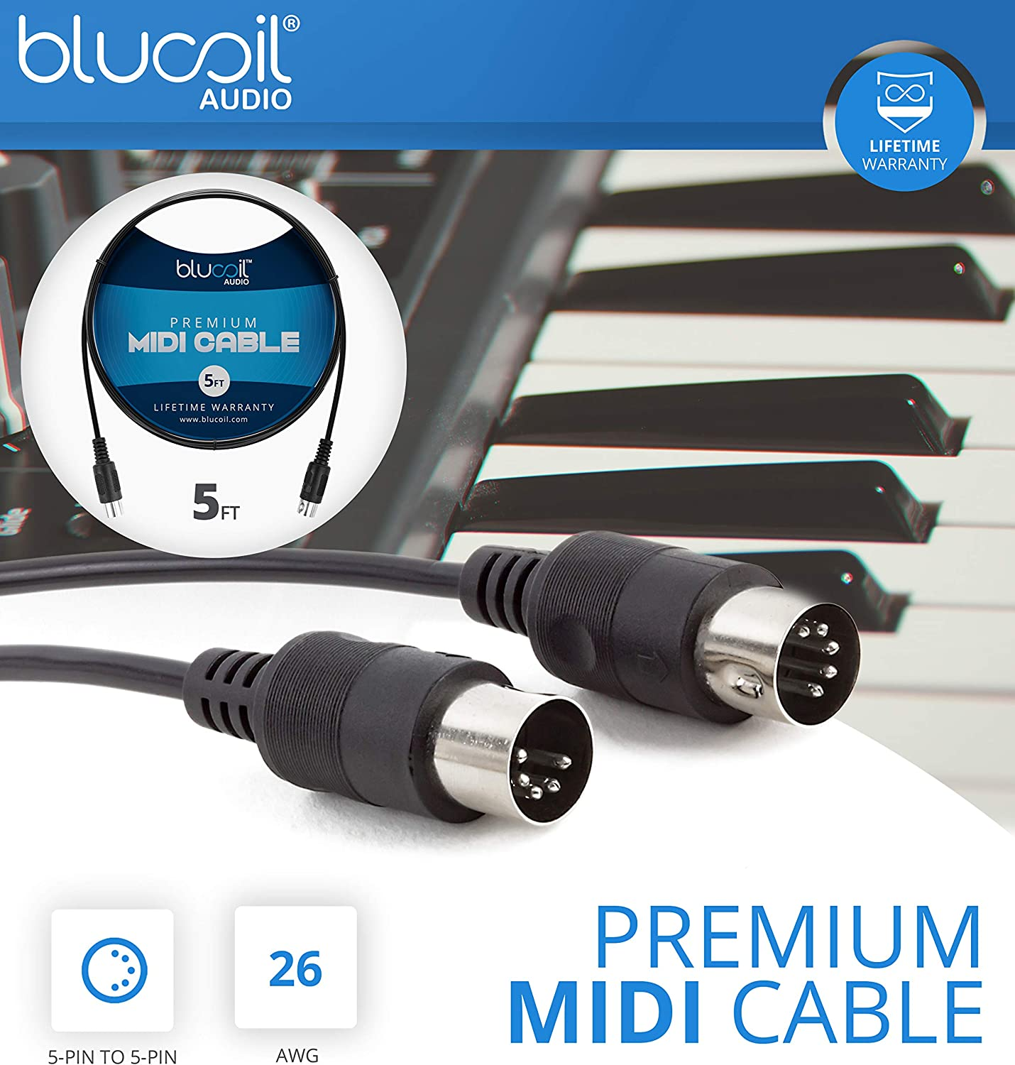 and 4-Pack of Celluloid Guitar Picks 5-FT MIDI Cable Voodoo Lab Control Switcher MIDI Amplifier Channel Switcher Bundle with Blucoil 2-Pack of 10-FT Straight Instrument Cables 1//4in