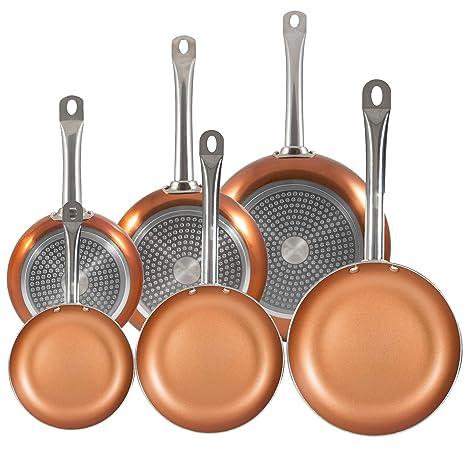 San Ignacio Professional Chef Copper Plus Set 6 sartenes +, Aluminio Prensado