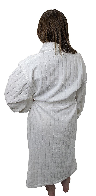 Amazon.com  Pillowtex Velour Stripe Men s and Women s Luxury Bathrobe –White  (Womens)  Home   Kitchen e0dc758ea