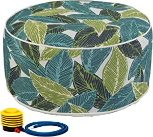 Kozyard Inflatable Stool Ottoman Used for Indoor or Outdoor, Kids or Adults, Camping or Home (Acacia Leaf)
