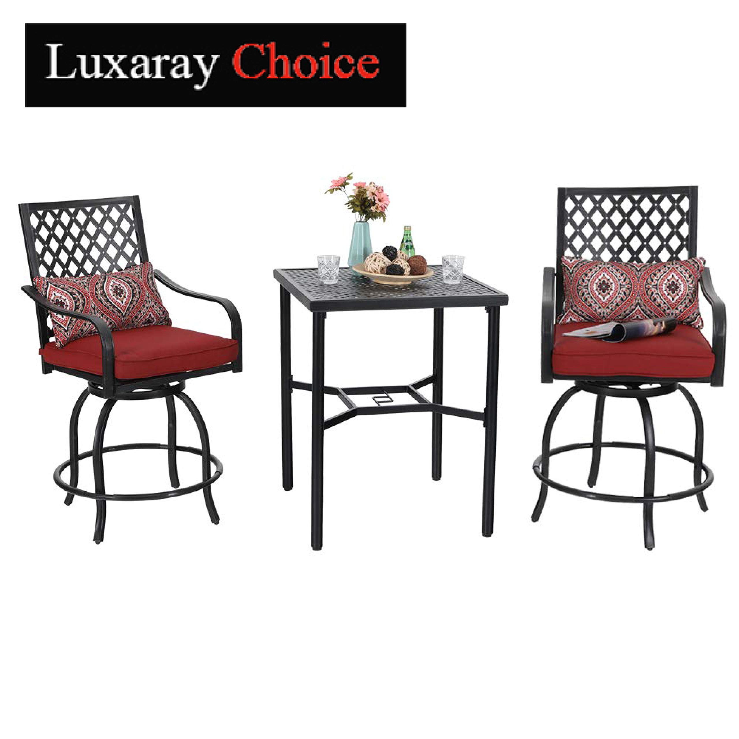 PHI VILLA Bistro Set Outdoor Bar Height Swivel 2 Patio Chairs and 1 Metal Top Table,Seat Cushions and Adjust Screw Feet