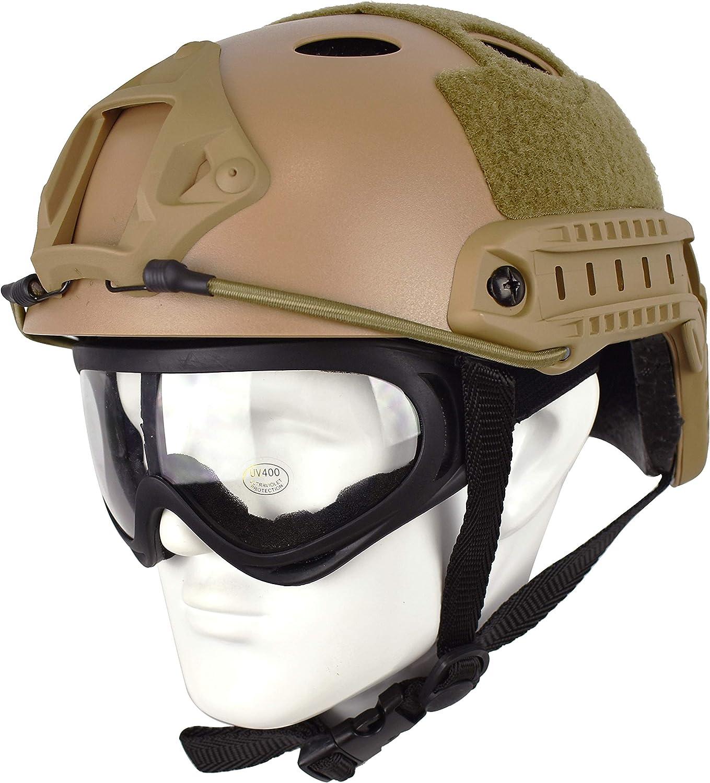 Casco táctico QHIU Tipo PJ Ligero y Protector rápido para Airsoft, Paintball, Juegos CS Deportes al Aire Libre con Gafas