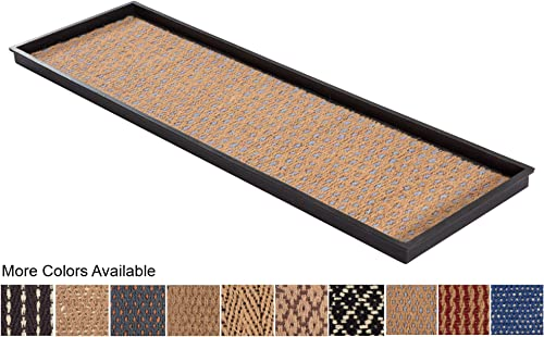 Anji Mountain AMB0BT4F-007 Rubber Boot Tray with Coir, Fits 4 Pair 46.5 Wide , Tan Blue Insert