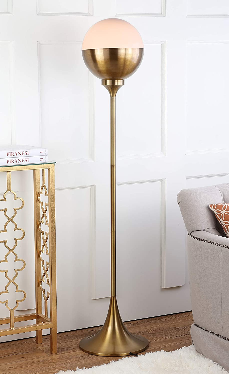 Safavieh FLL4006A Lighting Collection Renato 63.5 Brass Gold Floor Lamp,