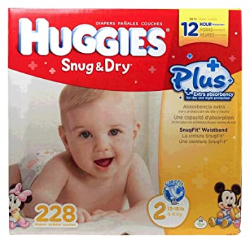 Huggies Snug & Dry baby diapers, size 2, 12-18lb. 228-