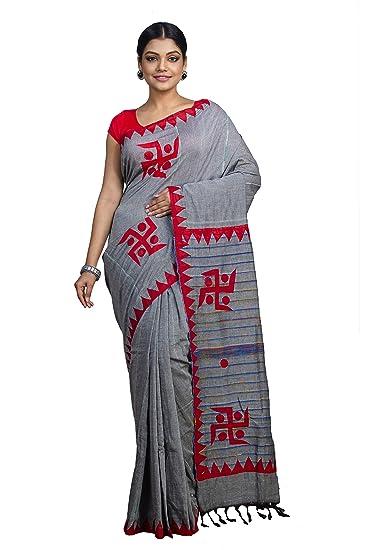 a95b232c14 Tant Ghar Women's Cotton Khesh Applique Work sarees with blouse (Gray,  KA-07)