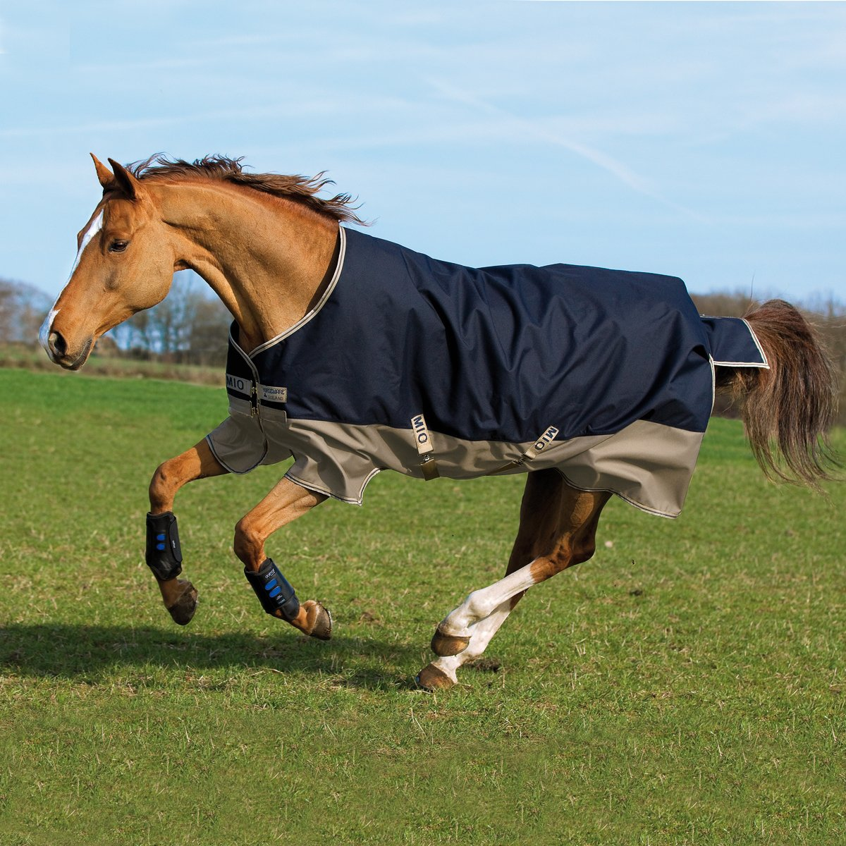 Horseware Mio Turnout medium 200g -Navy & Tan with Navy Groesse:155