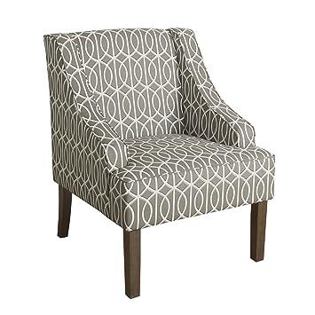 Peachy Homepop Swoop Arm Accent Chair Grey Trellis Frankydiablos Diy Chair Ideas Frankydiabloscom