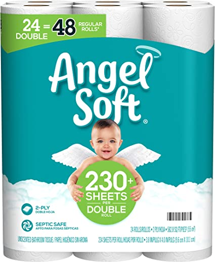 Amazon Com Angel Soft Toilet Paper 24 Double Rolls 48 Regular Rolls 230 2 Ply Sheets Per Roll Health Personal Care