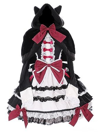 Kawaii-Story JL de 657 Cape & Manga Larga Vestido Lazo Set Rojo Negro Disfraz