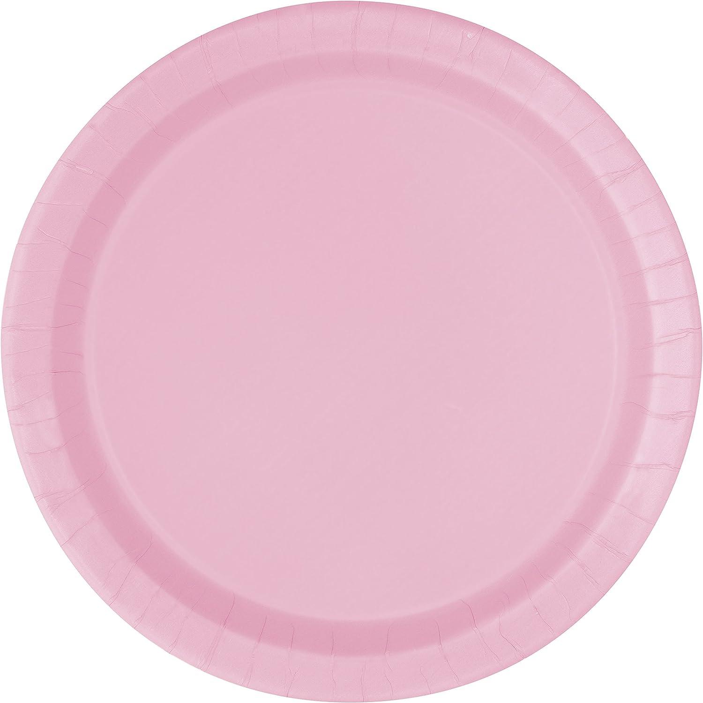 Unique Party - Platos de Papel - 23 cm - Rosa Claro - Paquete de 16 (30879)