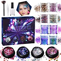 Luckyfine Brillos Gruesos Holográficos 12 cajas, Purpurinas para Cara, Cuerpo, Ojos, Pelo, Uñas y Festival, Tatuajes Temporales - 8x10ml Brillo Grueso, 3x5ml Brillo Láser, 1x5ml Brillo de Unicornio