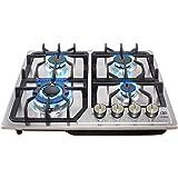 AVERA AI4 Parrilla a gas de Empotrar con 4 Quemadores en Acero Inoxidable. Estufa para cocina.