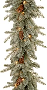 National Tree Company 'Feel Real' Pre-lit Artificial Christmas Garland Flocked with Pine Cones and White Lights, 9 ft, Frosted Artic Spruce