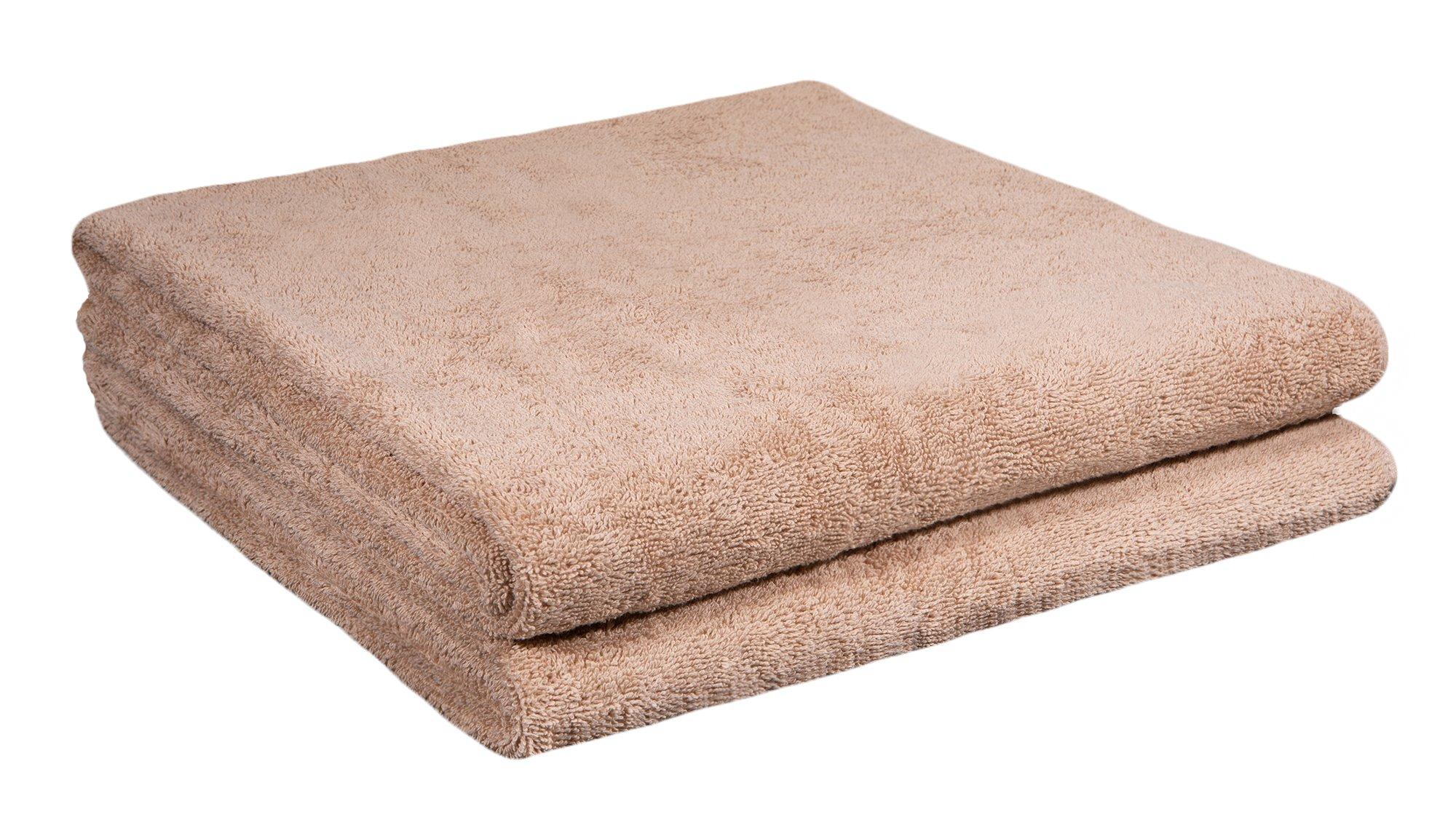Home and Plan Quick Dry Premium 100% Turkish Cotton Bath Sheets | 2-Piece Set, Oversized Bath Towels (30x60) - Beige (S1)