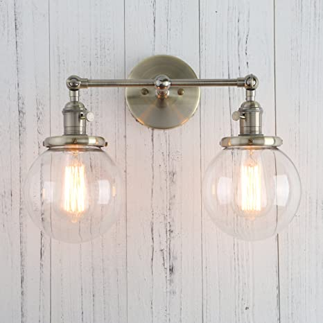 permo double sconce vintage industrial antique 2 lights wall sconces rh amazon com Wall Sconce Candle Holder Outlet Wiring to Wall Sconces
