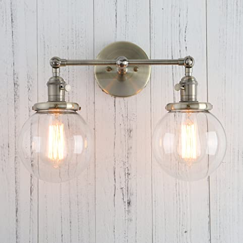 Permo double sconce vintage industrial antique 2 lights wall permo double sconce vintage industrial antique 2 lights wall sconces with dual mini 59quot aloadofball Images