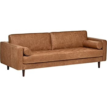 Amazon Com Edloe Finch Modern Leather Sofa Mid Century