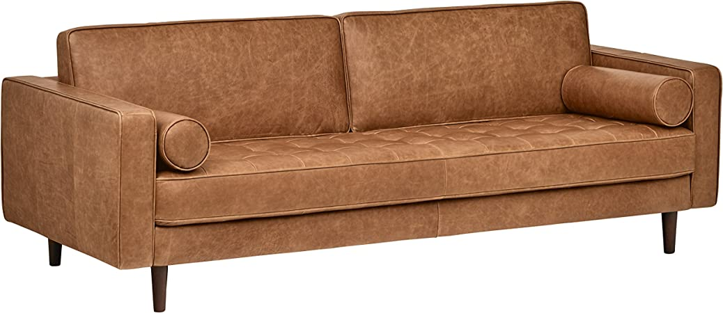 Rivet Aiden Tufted Mid-Century Modern Leather Bench Seat Sofa, 86.6\