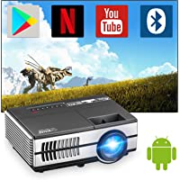 Mini Wireless Projector with Wifi and Bluetooth, Portable Home Theater Projector Smart Android Projector with HDMI USB…