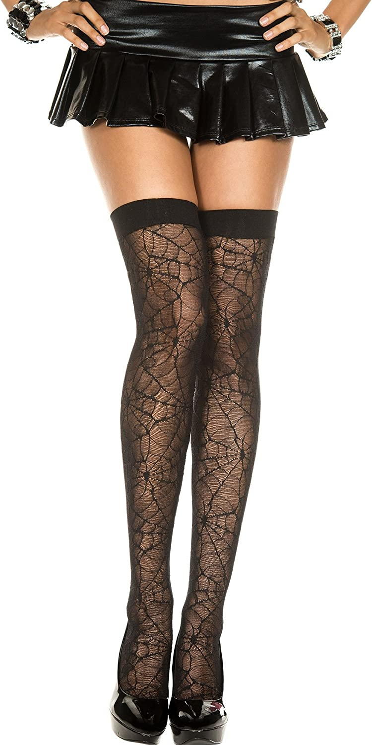 Music Legs Womens Plus Size Spider Web Sheer Thigh Highs