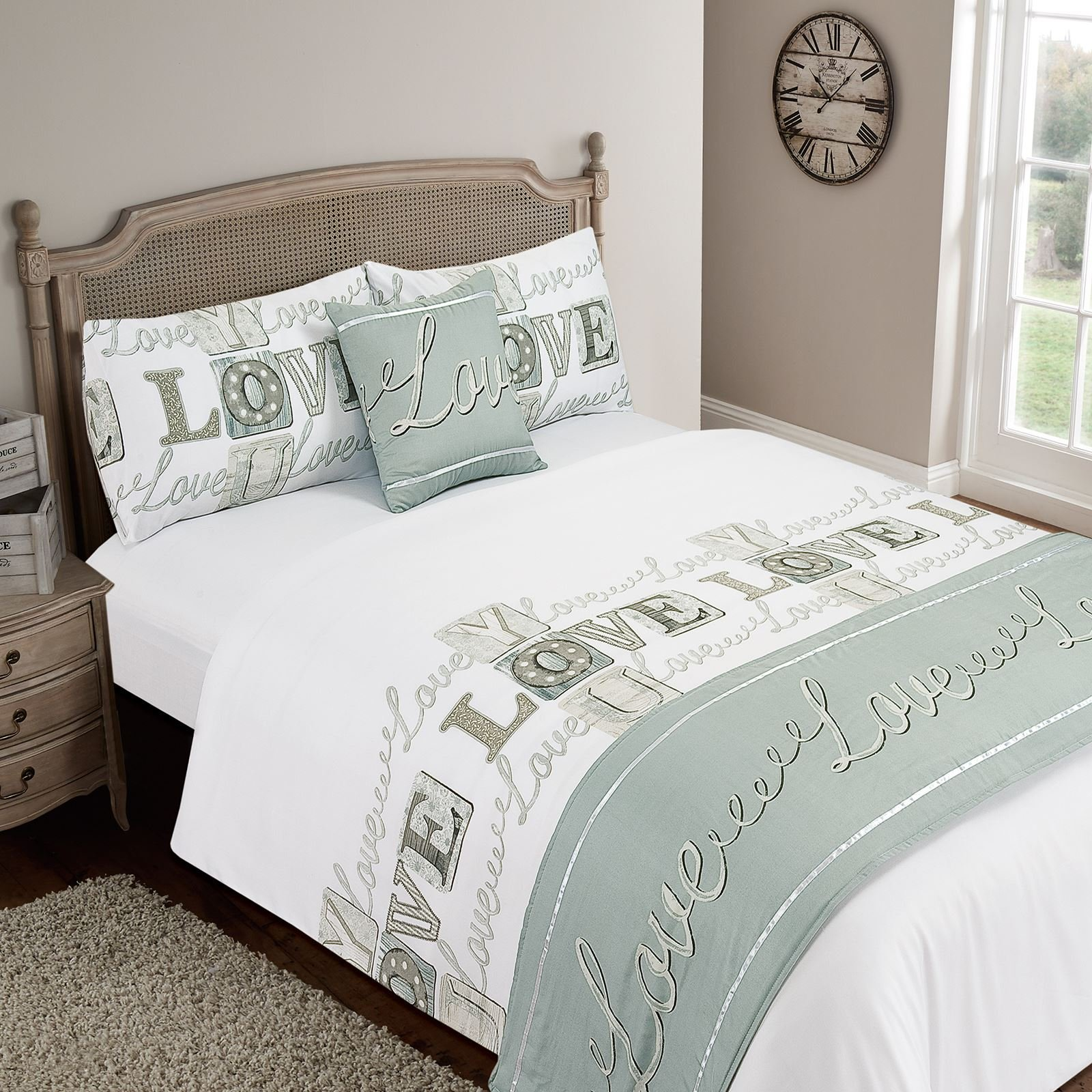 Love You Grey Double Duvet Quilt Set Bed in a Bag Cushion Cover Runner Fitted Sheet by Dreamscene