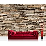 """Photo wallpaper - stonewall stones asia - 157.4""""W by 110.2""""H (400x280cm) - Non-woven PREMIUM PLUS - ASIAN STONE WALL - BROWN - Wall Decor Photo Wall Mural Door Wall Paper Posters & Prints"""