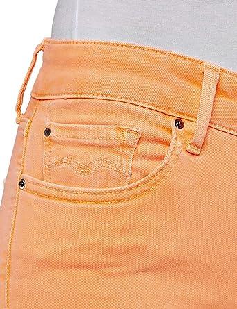 Replay New LUZ Skinny Jeans, pomarańczowe (Orange Fluo 649), No Aplica/L28 (rozmiar producenta: 32): Odzież