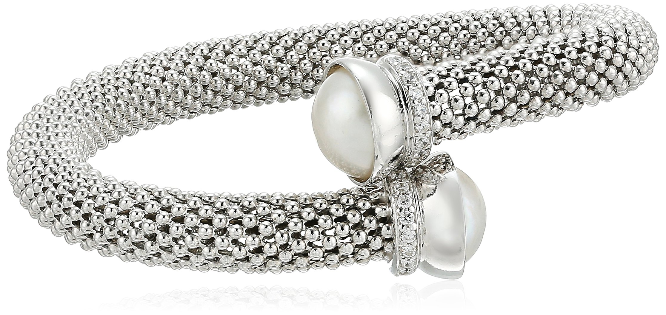 Sterling Silver Italian Rhodium Plated and Freshwater Cultured Pearl and Cubic Zirconia Popcorn Cuff Bracelet