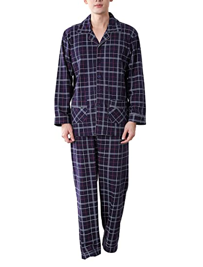 854a02136ab4 Amhillras Mens Pajamas Long Cotton Sleepwear Men Long Sleeved Pajama Set V  Neck Nightwear Homewear Suit With Pockets Button Front  Amazon.co.uk   Clothing