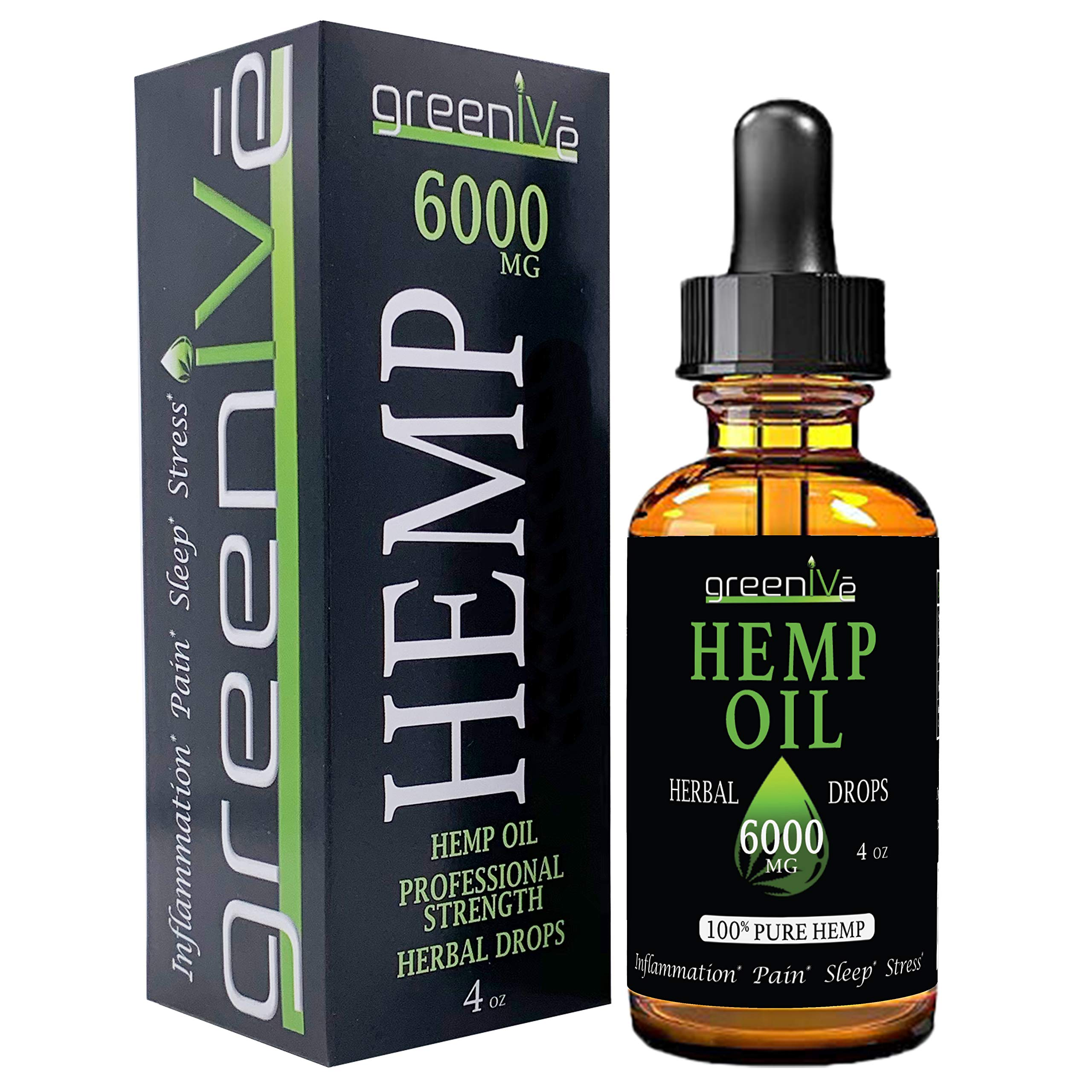GreenIVe - Hemp Extract - Premium Quality Hemp Plant Extract - USA farmed and Bottled - Exclusively on Amazon (4 Ounce 6,000mg, Natural) by Greenive