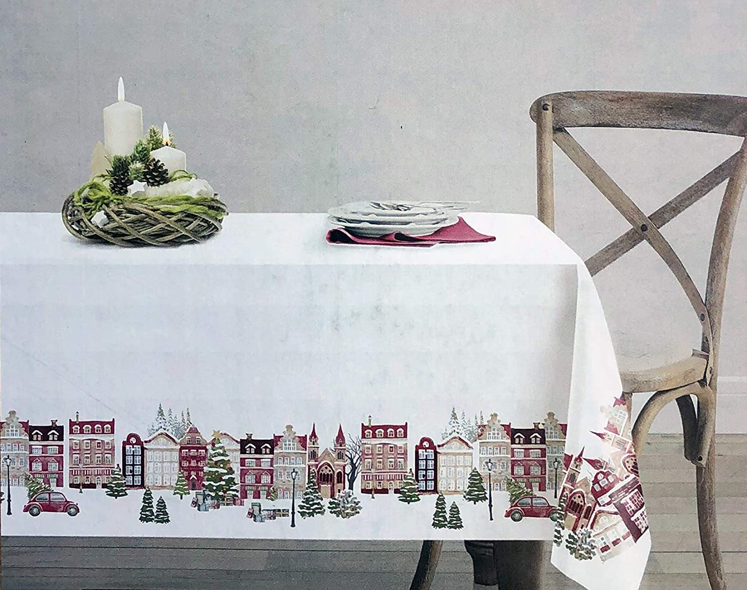 Santa's Workshop Christmas Holiday Fabric Tablecloth European Village Scene with Town Houses Christmas Trees Car Volkswagen - 70 Inches Round