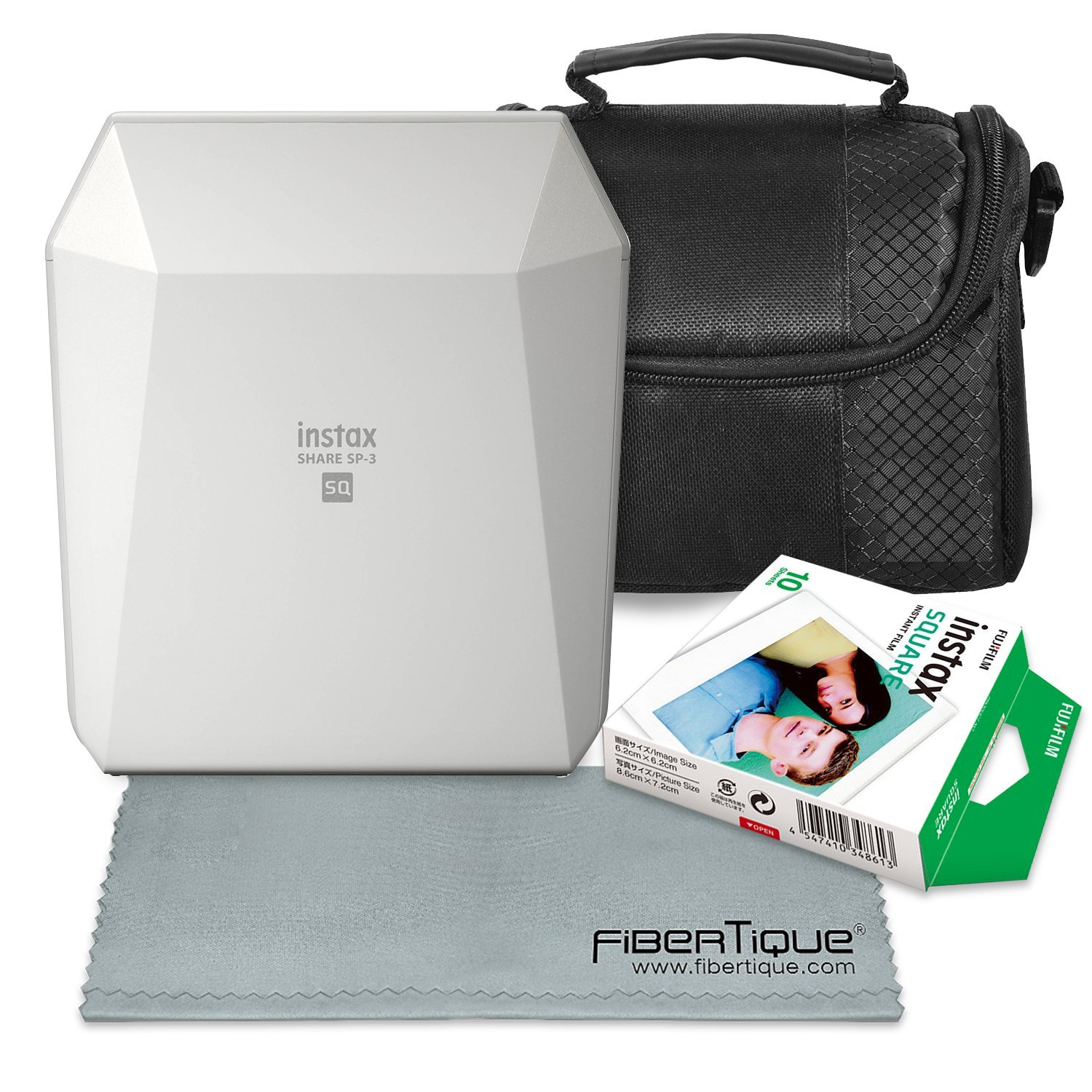 Fujifilm Instax SHARE Smartphone Printer SP-3 (White) with Instant Film, Deluxe Camera Case, and FiberTique Cloth