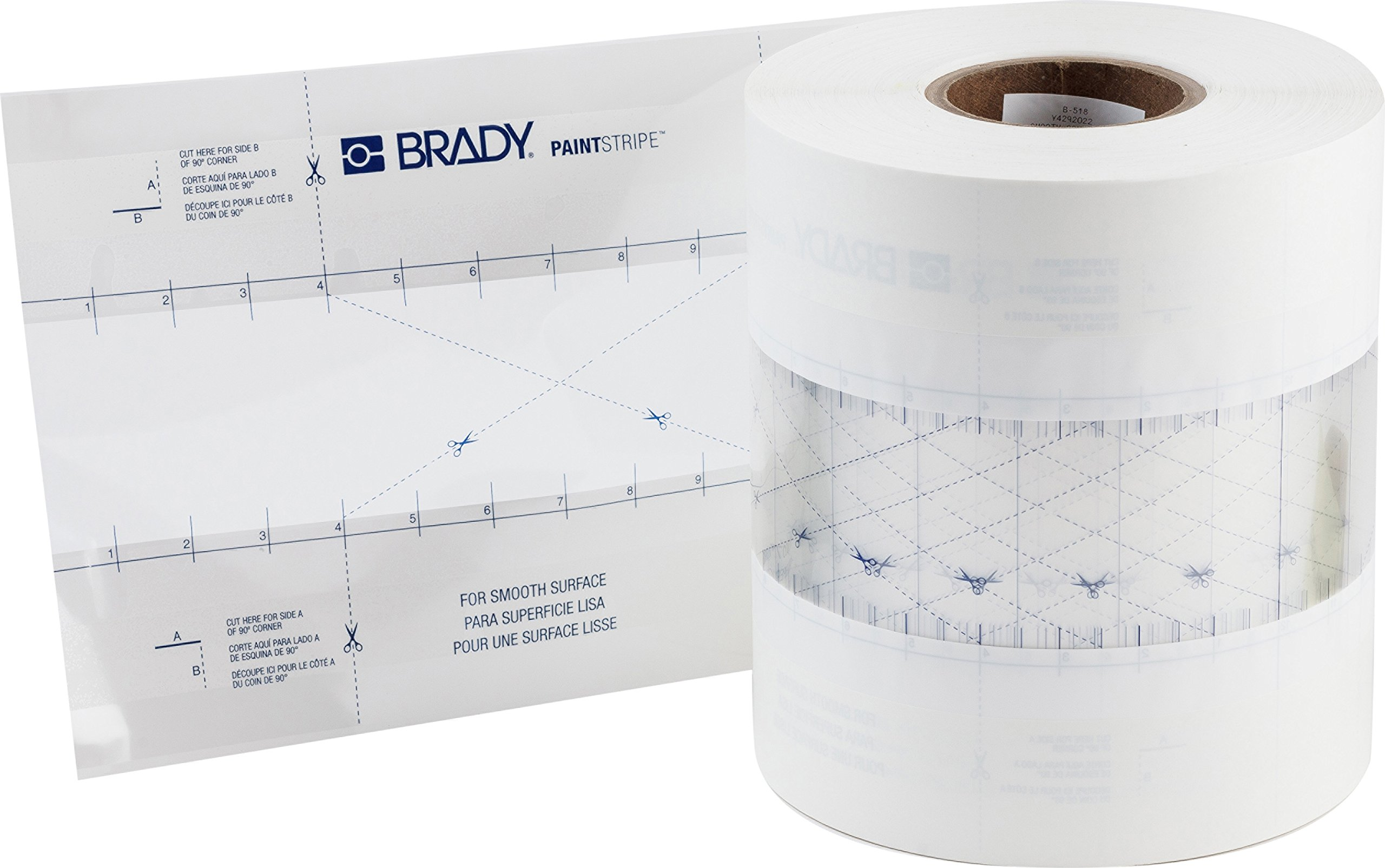 Brady PaintStripe Floor Marking Stencil, Continuous Line, 0.25'' Height, 3'' Wide, 6000'' Length, Polypropylene, Clear/White - 148819