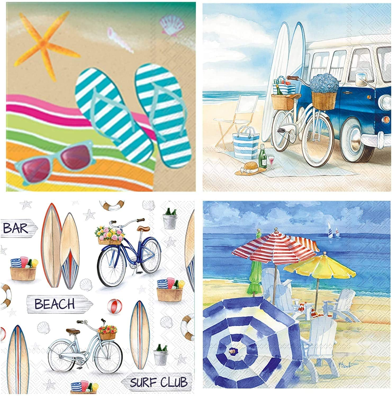 Boston International 20 Count 3-Ply Paper Cocktail Napkins, set of 4 Beach & Summer Themes