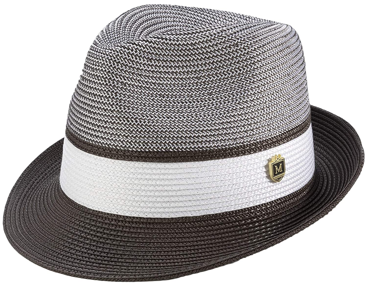 e873696601efc MONTIQUE Men s Braided Two Tone Pinch Fedora Hat H22 at Amazon Men s  Clothing store